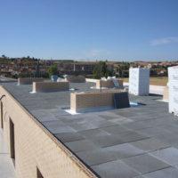 Impermeabilización FPO + aislamiento con losa filtrón en residencia 3ª Edad de Burgo de Osma (Soria)